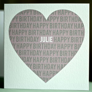 Personalised Happy Birthday Heart Card - birthday cards