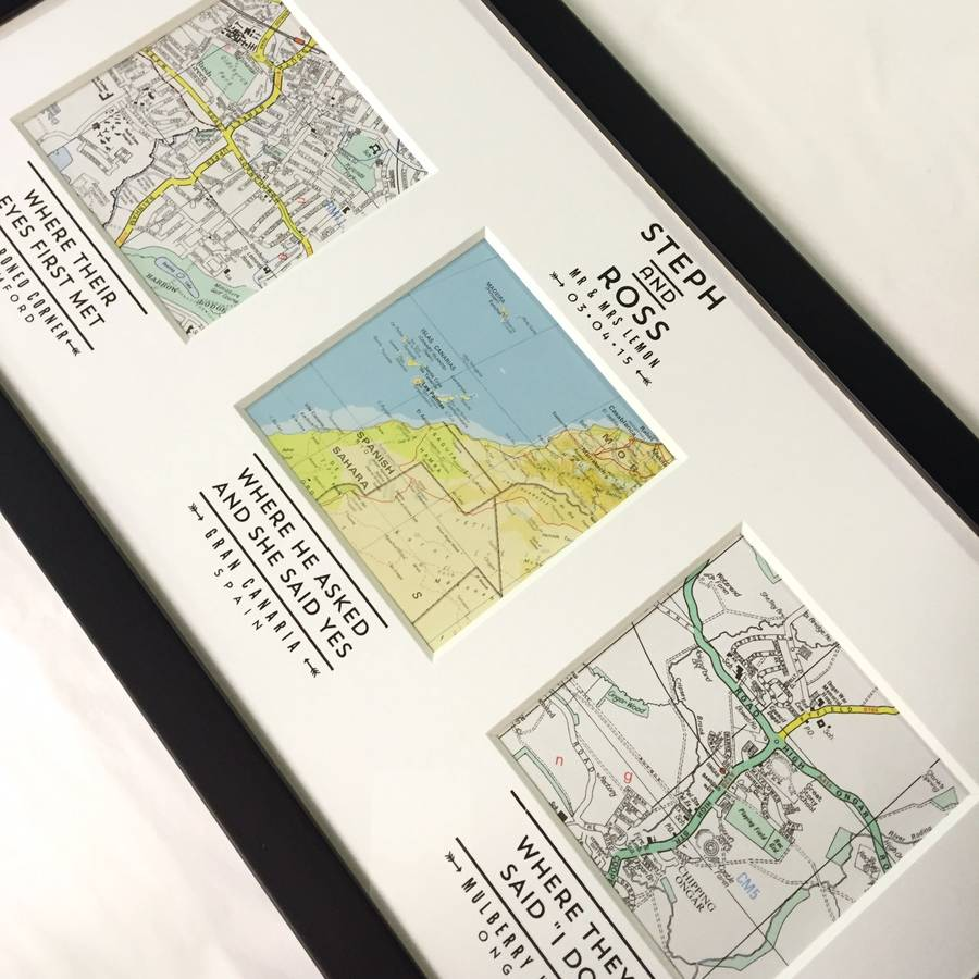 Personalised Map Wedding Art By Basil Amp Ford