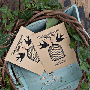 10 Love Birds Personalised Seed Packet Favours - birds & butterflies