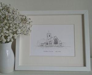 Personalised Wedding Venue Portrait - canvas prints & art
