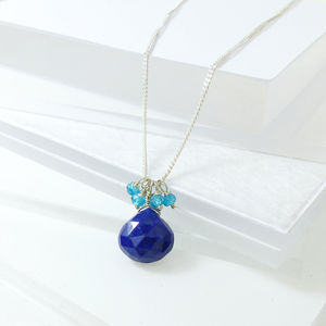Lapis Lazuli Cluster Drop Pendant - necklaces & pendants