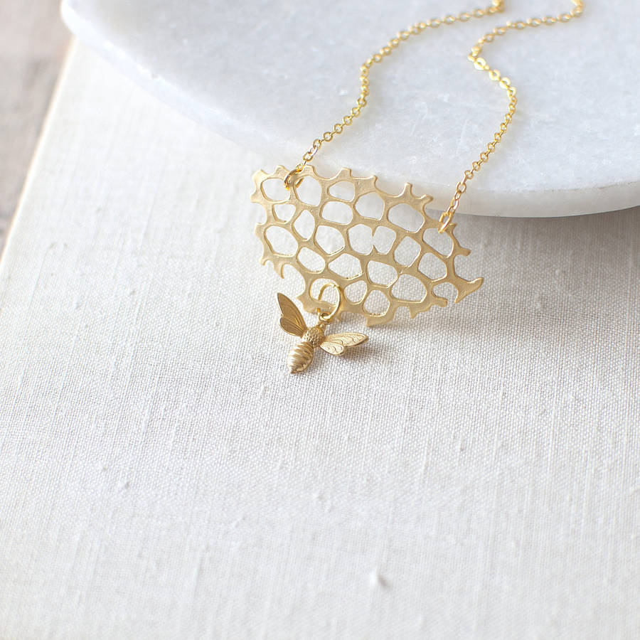 Gold Honey Bee Charm Necklace By Juju Treasures