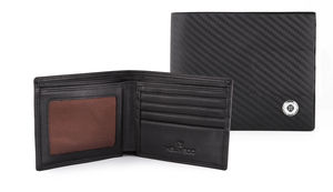 Carbon Fibre Design Leather Bi Fold Wallet