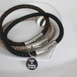 Kj Man Personalised Plaited Leather Bracelet - bracelets