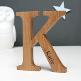 Personalised Christening Oak Letter - gifts