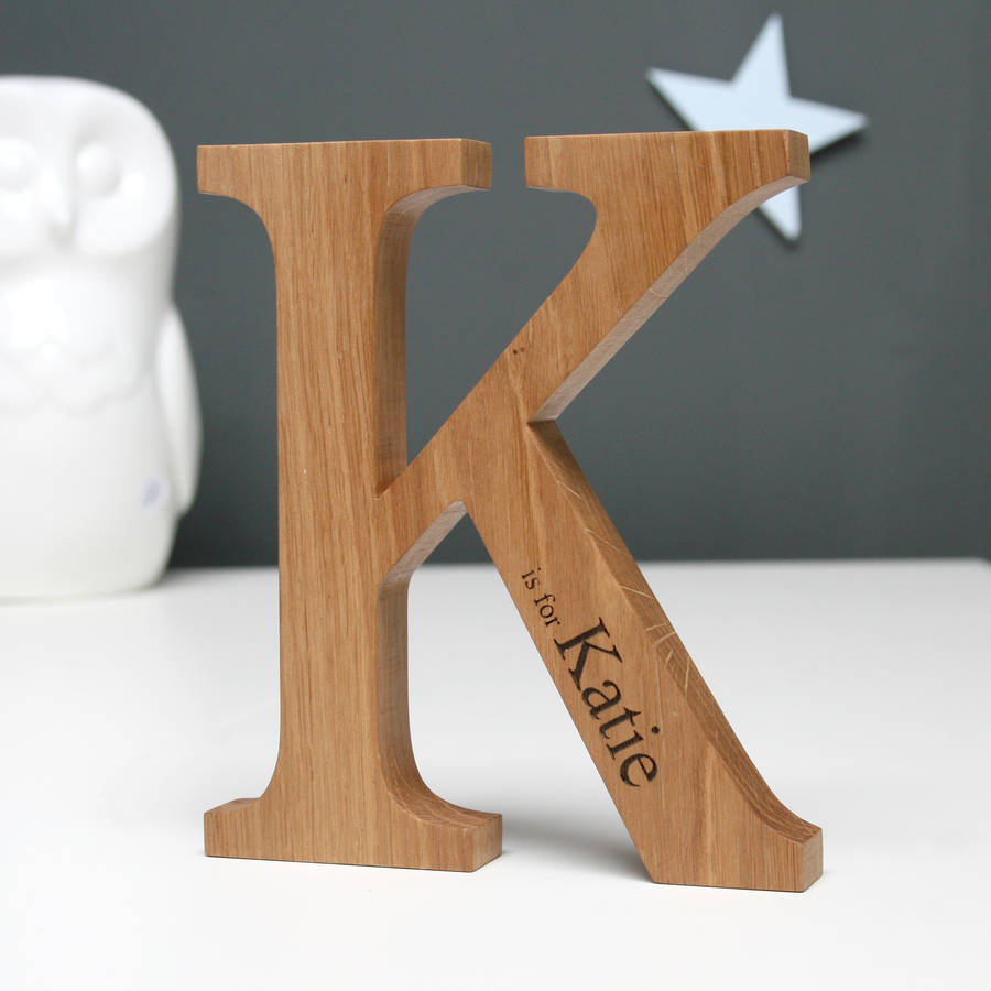 Personalised Christening Oak Letter   Personalised Gifts