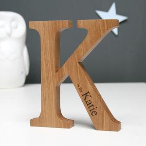 Personalised Christening Oak Letter - gifts for him