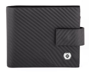 Black Carbon Fiber Effect Leather Wallet - wallets