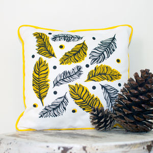 Screen Printed Feather Cushion