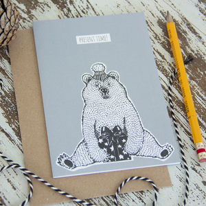 'Present Time' Bear Greetings Card - birthday cards