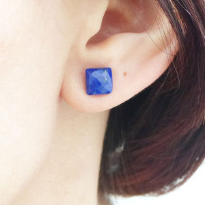 Lapis Lazuli Square Cut Stud Earrings - earrings