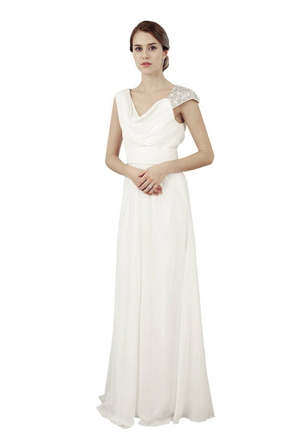 Chiffon cowl neck grecian bridal dress by elliot claire for Grecian chiffon wedding dress