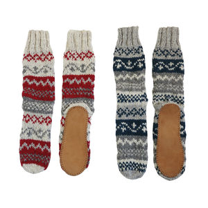 Long Knit Slipper Socks With Faux Suede Sole