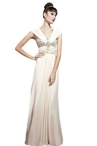 Beige Sequined Floor Length Wedding Dress - wedding fashion