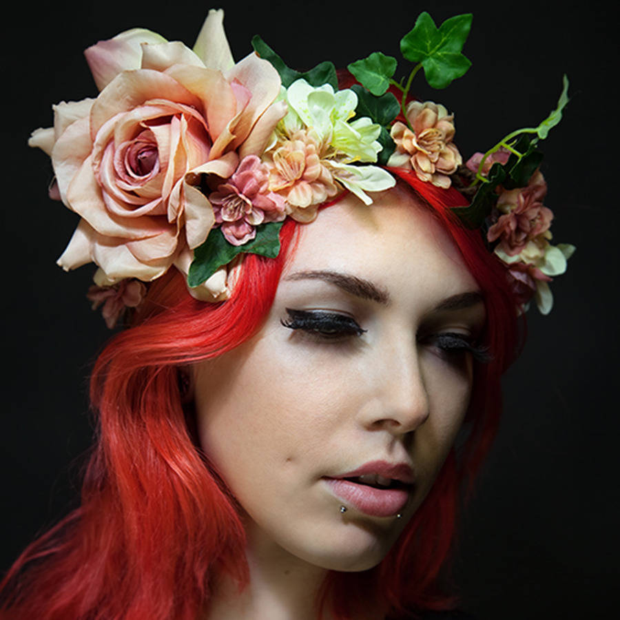 Bohemian flower crown with ribbon by ggs pin up couture bohemian flower crown with ribbon izmirmasajfo