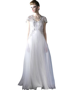 Elegant Silver Tulle Wedding Dress With Lace Embroidery - wedding fashion