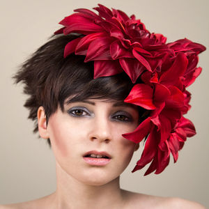 Large Peony Fascinator In Red, Black Or White - hats & fascinators