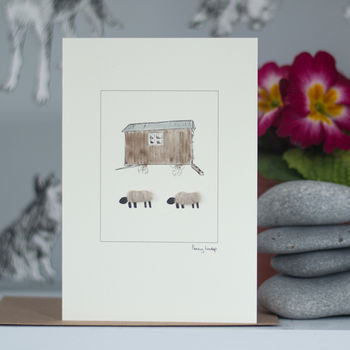 Woolly Sheep And Shepherds Hut Blank Greeting Card