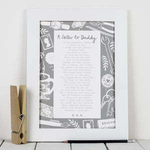 'A Letter To Daddy' Poem Print - home sale