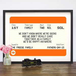 Personalised Family Train Ticket Print - gifts for families