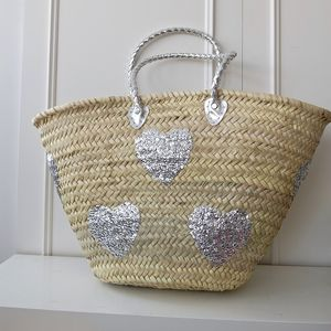 Moroccan Silver Sequin Hearts Shopping Basket