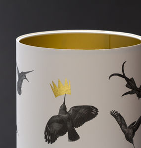 Hummingbird Hand Gilded Lampshade - office & study