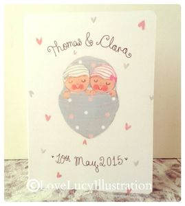 Personalised New Baby Twins Keepsake Card - shop by category