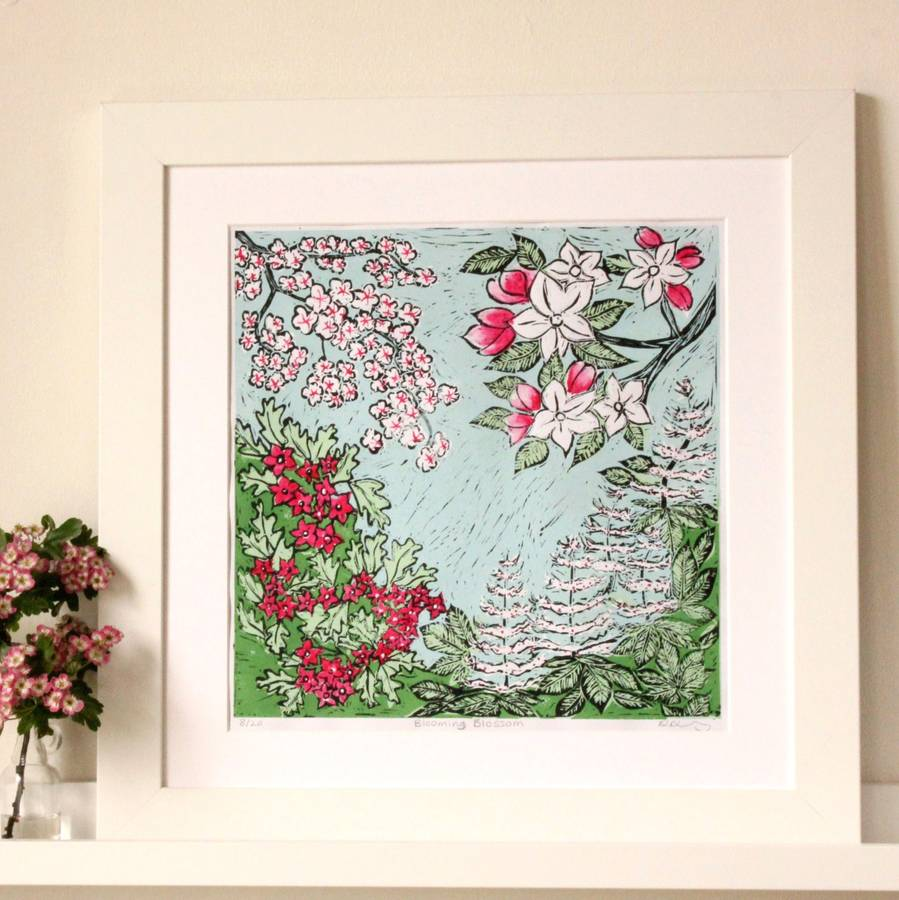 'Blooming Blossom' Lino Print