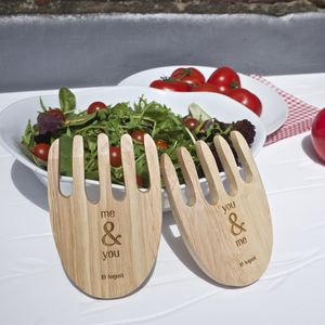 Personalised Wooden Salad Servers - utensils