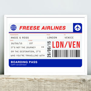 Personalised Boarding Pass Print - under £25