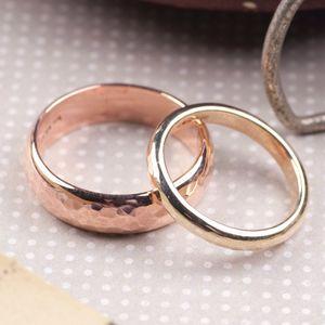 Personalised Solid Gold Wedding Band Set - gold & diamonds