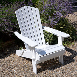 Adirondack Folding Hardwood Chair Painted White