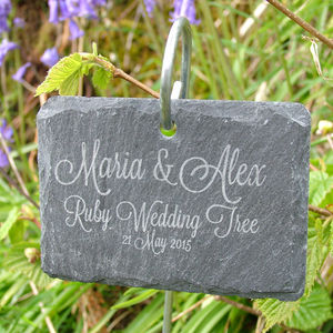 Personalised Hanging Slate Plant Marker - 40th anniversary: ruby