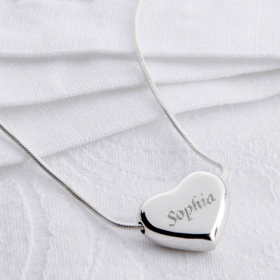 Personalised sterling silver heart pendant necklace by hurleyburley personalised sterling silver heart pendant necklace mozeypictures Gallery