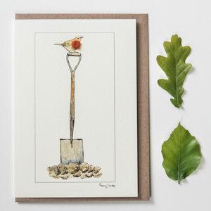 Bird Greeting Card, Robin On A Spade