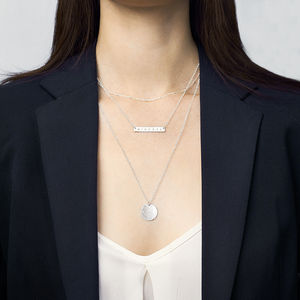 Personalised Silver Bar Layering Necklace Set