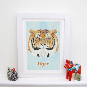 Personalised Tiger Animal Print - children's pictures & paintings