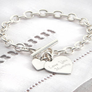Personalised Solid Sterling Silver Heart Bracelet - charm jewellery