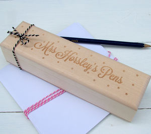Personalised Engraved Wooden Pencil Case - gifts for teachers