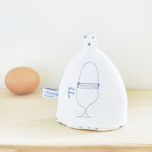 Embroidered Linen 'Egg' Cosy