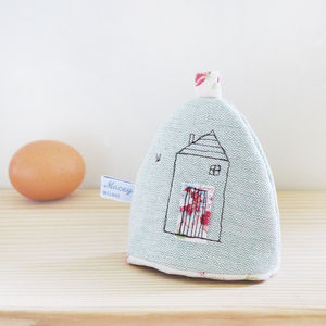 Embroidered Linen 'Home' Egg Cosy - egg cups & cosies