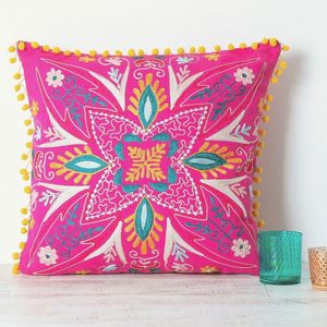 Handmade Embroidered Pink Cushion - bedroom