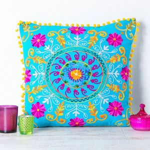 Handmade Embroidered Turquoise Cushion