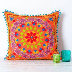 Handmade Embroidered Orange Cushion - bedroom