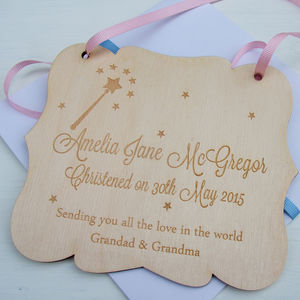 Engraved Birchwood Christening Card