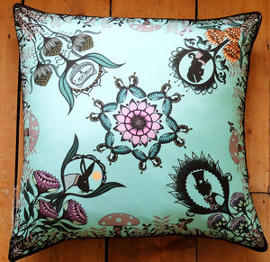 Alice In Wonderland Large Silk Cushion