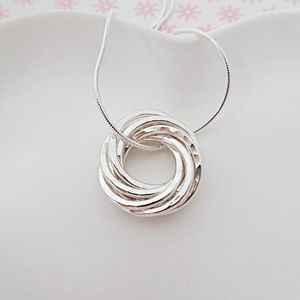 Seven Interlinked Rings Silver Necklace - 70th birthday gifts