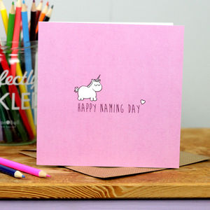 Girl Unicorn Naming Day Card