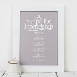 'A Recipe For Friendship' Personalised Poem Print