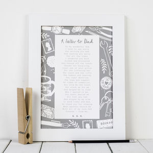 'A Letter To Dad' Poem Print - posters & prints